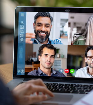 Holding a virtual meeting photo